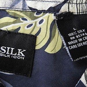 Silk Icon Shirts - Silk Icon Men's Shirt Floral Button Up   F13